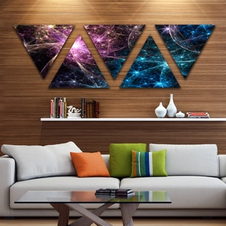 Designart 'Blue Pink Colorful Fireworks' Contemporary Art on Triangle Canvas - 5 Panels