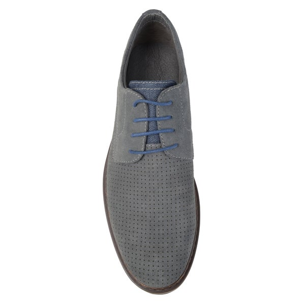 NEW MENS PERFORATED LACE UP OXFORDS FAUX SUEDE LEATHER LINED DRESS SHOES// BROWN