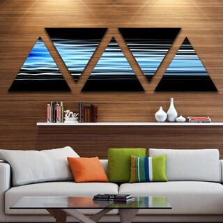Designart 'Light Blue Fractal Waves' Contemporary Art on Triangle Canvas - 5 Panels