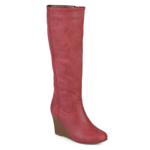Journee Collection Women's 'Langly' Regular and Wide Calf Round Toe Mid-calf Wedge Boots
