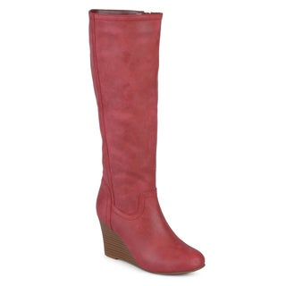 Link to Journee Collection Women's 'Langly' Regular and Wide Calf Round Toe Mid-calf Wedge Boots Similar Items in Women's Shoes