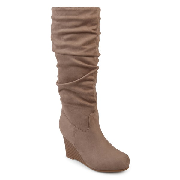 Journee Collection Women's 'Haze' Regular and Wide Calf Slouchy Mid-calf Wedge Boots