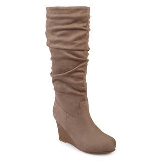 Journee Collection Women's 'Haze' Regular and Wide Calf Slouchy Mid-calf Wedge Boots|https://ak1.ostkcdn.com/images/products/17011776/P23292368.jpg?impolicy=medium