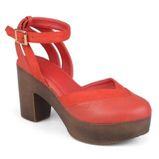 Journee Collection Women's 'Rumer' Platform Ankle Wrap Round Toe Heels