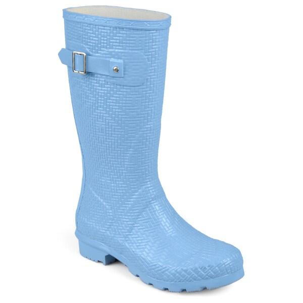 Journee Collection Women's 'Drizl' Textured Rubber Basketweave Mid-calf Rainboots