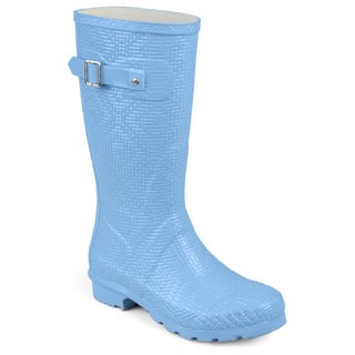 Journee Collection Women's 'Drizl' Textured Rubber Basketweave Mid-calf Rainboots