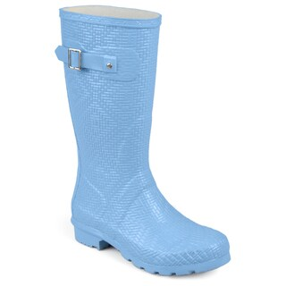 Journee Collection Women's 'Drizl' Textured Rubber Basketweave Mid-calf Rainboots (More options available)