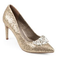 Journee Collection Women's 'Albie' Pointed Toe Jewel Glitter Heels