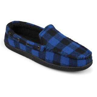 Vance Co. Men's 'Truman' Faux Sherpa Lined Plaid Moccasin Slippers (4 options available)
