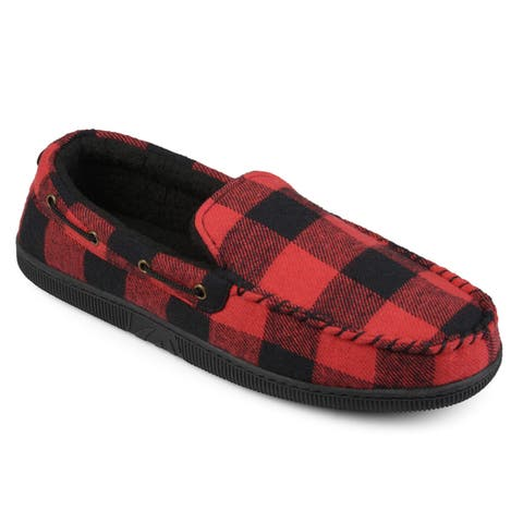 Vance Co. Men's 'Truman' Faux Sherpa Lined Plaid Moccasin Slippers