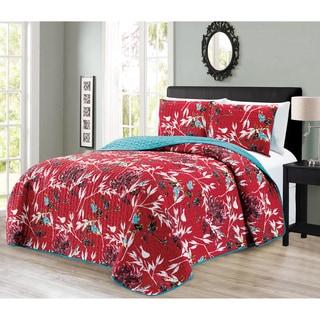 Journee Home 'Benoni' Printed 3-pc Reversible Bedspread