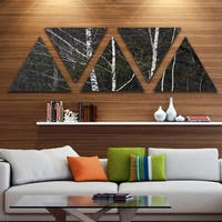 Designart 'Black and White Birch Forest' Contemporary Wall Art Triangle Canvas - 5 Panels