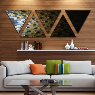 Designart 'Symmetrical Gold Fractal Flower' Contemporary Wall Art Triangle Canvas - 5 Panels