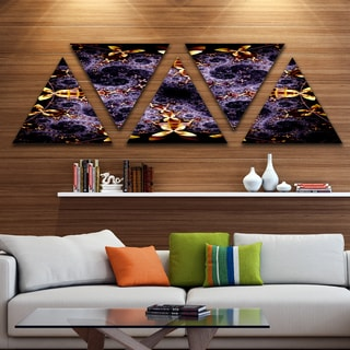 Designart 'Yellow and Violet Fractal Flower' Contemporary Wall Art Triangle Canvas - 5 Panels