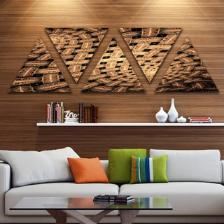 Designart 'Symmetrical Brown Fractal Flower' Contemporary Wall Art Triangle Canvas - 5 Panels