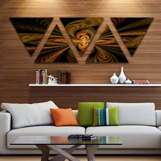 Designart 'Colorful Fractal Flower Pattern' Contemporary Triangle Canvas Print Art - 5 Panels