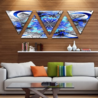 Designart 'Symmetrical Blue Fractal Flower' Contemporary Wall Art Triangle Canvas - 5 Panels