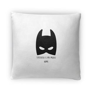 Kavka Designs black/ white superhero is my middle name fleece throw pillow