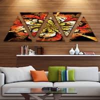 Designart 'Dark Yellow Orange Fractal Flower' Contemporary Wall Art Triangle Canvas - 5 Panels