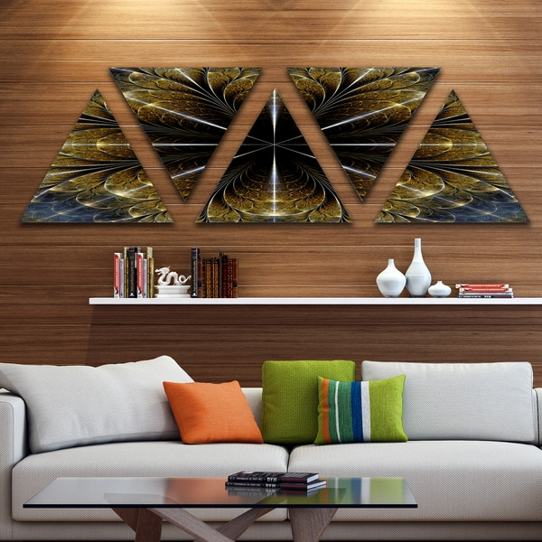 Designart 'Symmetrical Gold Fractal Flower' Contemporary Triangle Canvas Art Print - 5 Panels