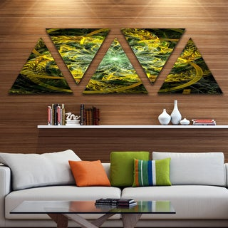 Designart 'Yellow and Green Fractal Flower' Contemporary Triangle Canvas Art Print - 5 Panels