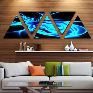 Designart 'Glowing Blue Symmetrical Flower' Contemporary Triangle Canvas Art Print - 5 Panels