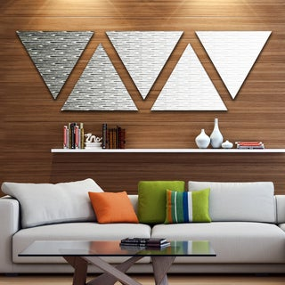 Designart 'White Symmetrical Fractal Flower' Contemporary Triangle Canvas Art Print - 5 Panels