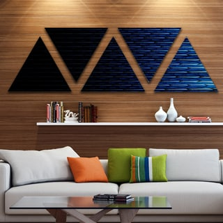 Designart 'Blue Symmetrical Fractal Flower' Contemporary Triangle Canvas Art Print - 5 Panels