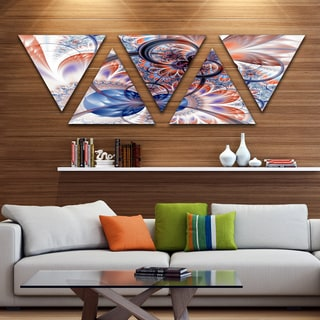 Designart 'Gold Symmetrical Fractal Flower' Contemporary Triangle Canvas Art Print - 5 Panels