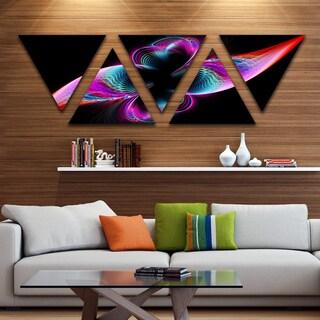 Designart 'Colorful Flower Fractal Rainbow' Contemporary Art on Triangle Canvas - 5 Panels