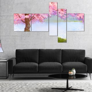 Designart 'Flowering Pink Tree by Lake' Floral Art Canvas Print