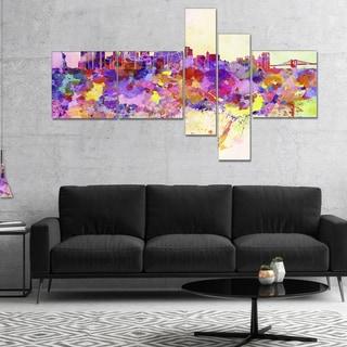 Designart 'Purple New York Skyline' Cityscape Canvas Art Print