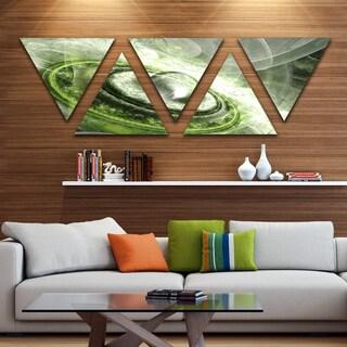 Designart 'Green Fractal Flying Saucer' Contemporary Triangle Canvas Art Print - 5 Panels