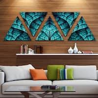 Designart 'Blue Exotic Biological Organism' Contemporary Triangle Canvas Art Print - 5 Panels