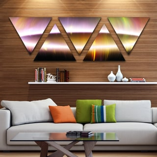 Designart 'Large Oval of Northern Lights' Contemporary Art on Triangle Canvas - 5 Panels