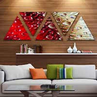 Designart 'Colorful Red Flower in Raindrops' Large Floral Triangle Canvas Artwork - 5 Panels