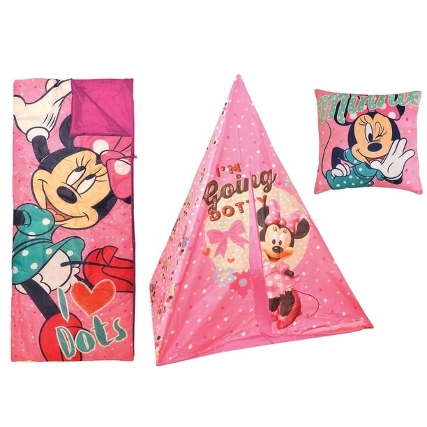 Disney Minnie Mouse Teepee Play Tent And Sleeping Bag Wit