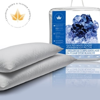 Quilted White Goose Feather Body Pillow