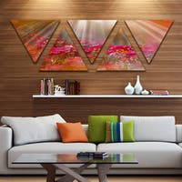Designart 'Sunrays over Little Red Flowers' Large Floral Triangle Canvas Artwork - 5 Panels