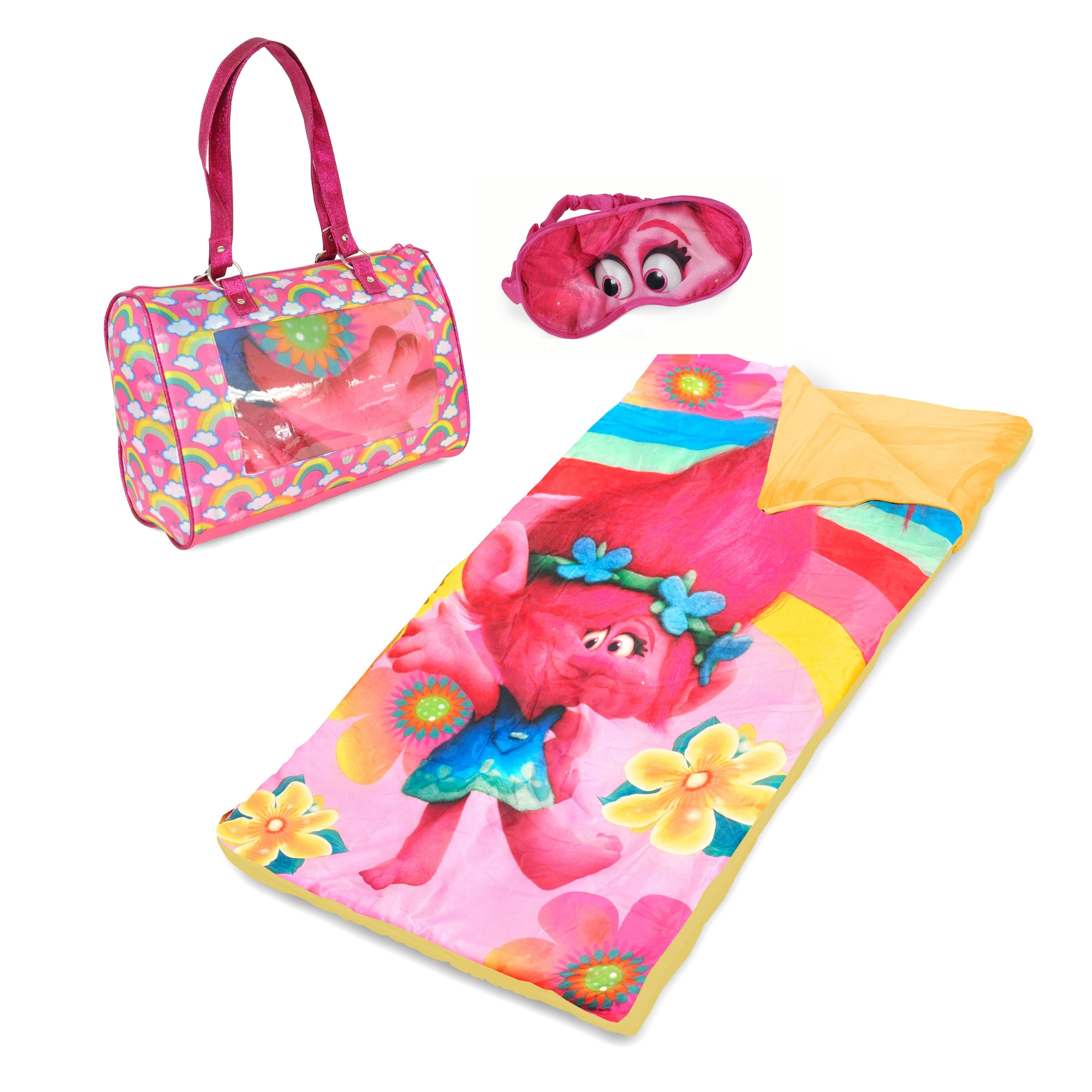 Dreamworks Trolls Sleeping Bag Set with Purse and Eyemask...