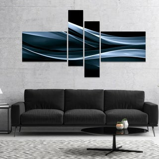 Designart 'Fractal Lines Blue in Black' Abstract Canvas art print