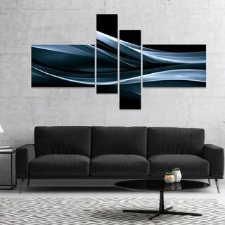 Designart 'Fractal Lines Blue in Black' Abstract Canvas art print