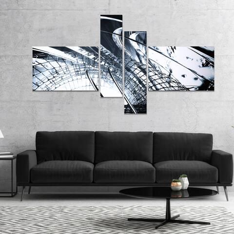 Designart '3D Abstract Art Black Structural' Abstract Canvas art print