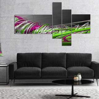 Designart 'Fractal 3D Green Purple Stripes' Abstract Canvas Art Print