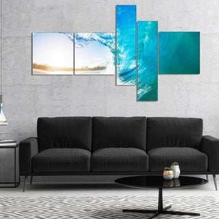 Designart 'Blue Waves Arch' Seascape Photography Canvas Art Print