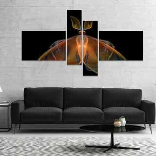 Designart 'Orange Fractal Butterfly in Dark' Abstract Canvas Art Print