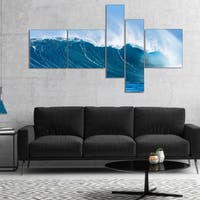 Designart 'Sky Hitting Ocean Waves' Seascape Canvas Art Print