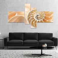 Designart 'Brown Nautilus Shell Pattern' Abstract Canvas Art Print
