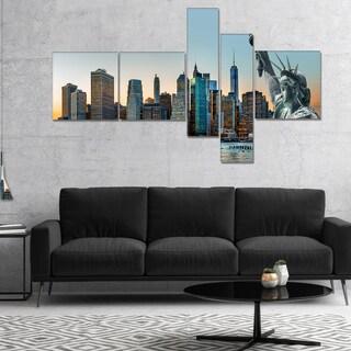 Designart 'New York City Skyline Panorama' Photography Canvas Art Print