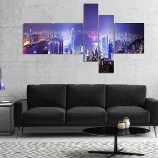 Designart 'Hong Kong Night City' Cityscape Photo Canvas Art Print